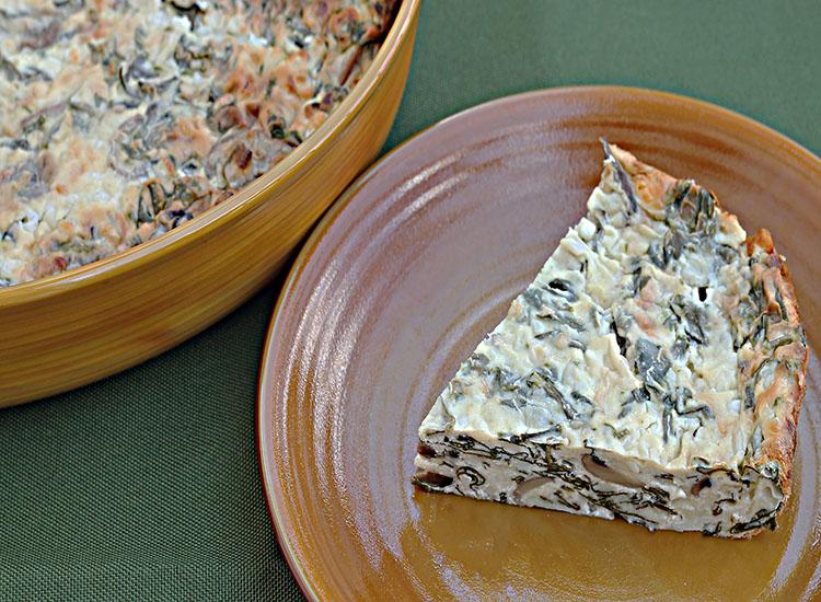 פשטידת תרד ופטריות חלבית