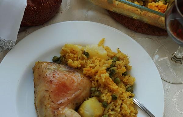 עוף, אורז וירקות בתנור